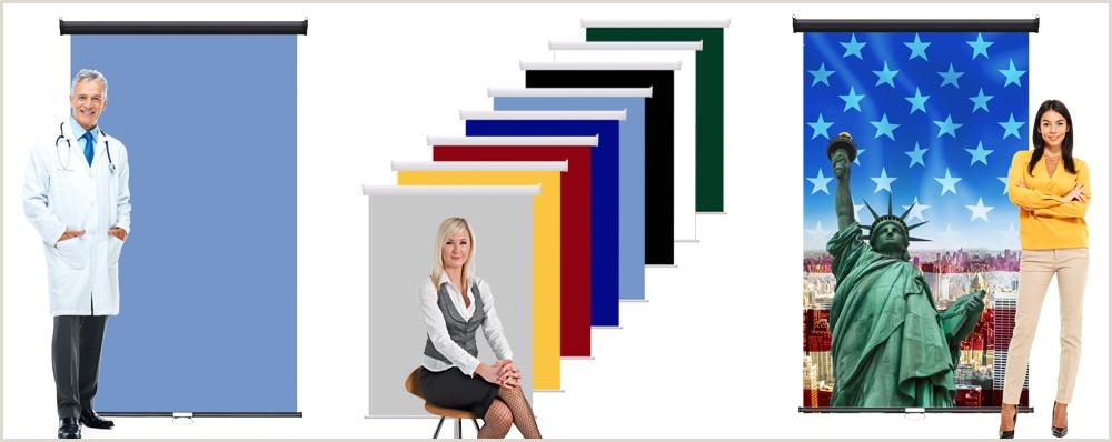 """Roll Up Retracting Wall Mounted Backdrop System Retractable Backdrop Black Casing 48"""" X 84"""""""