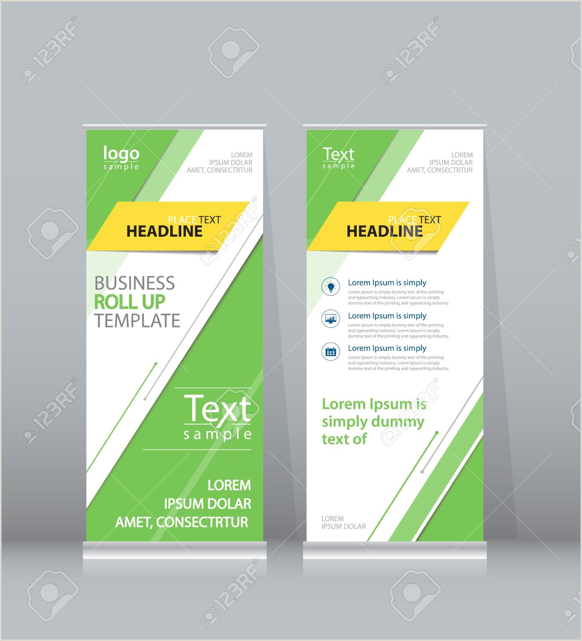Roll Up Sign Stand Green Roll Up X Stand Display Design Template For Business