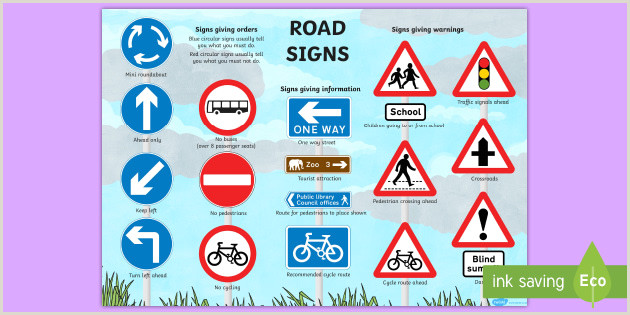 Safety Banner Ideas Free All Traffic Signs and Meanings Free Poster Ks1
