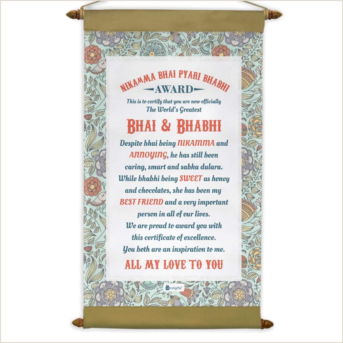 Scrolling Banner Stand Indi Ts Rakhi Gift For Brother And Bhabhi Nikkama Bhai Pyari Bhabhi Printed Scroll Message Card 9 5 X 17 Inches Rakshabandhan Gift For Sister In