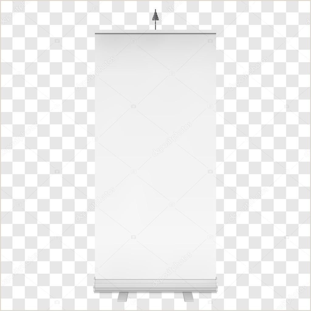 Self Standing Banner Blank Roll Up Banner Stand Vector