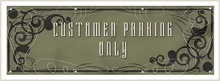 """Self Standing Banner Cgsignlab """"customer Parking Ly Victorian Gothic"""" Heavy"""