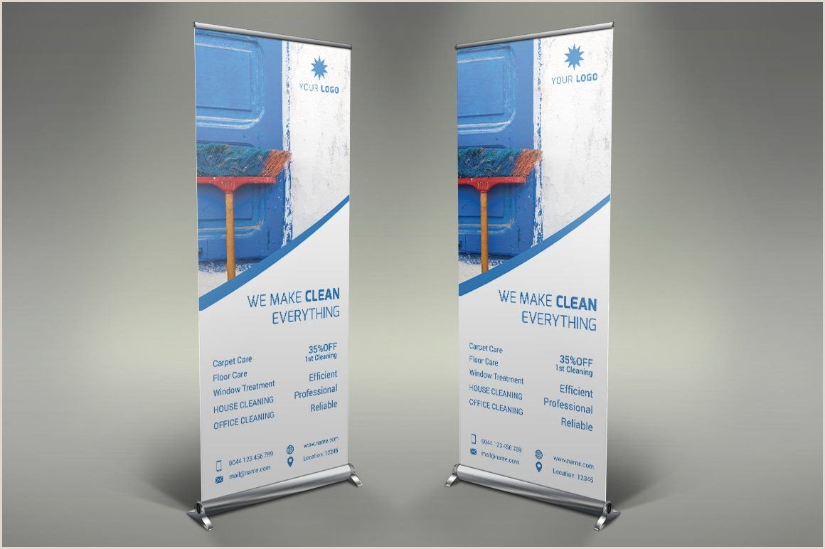 Self Standing Banner Cleaning Services Roll Up Banner