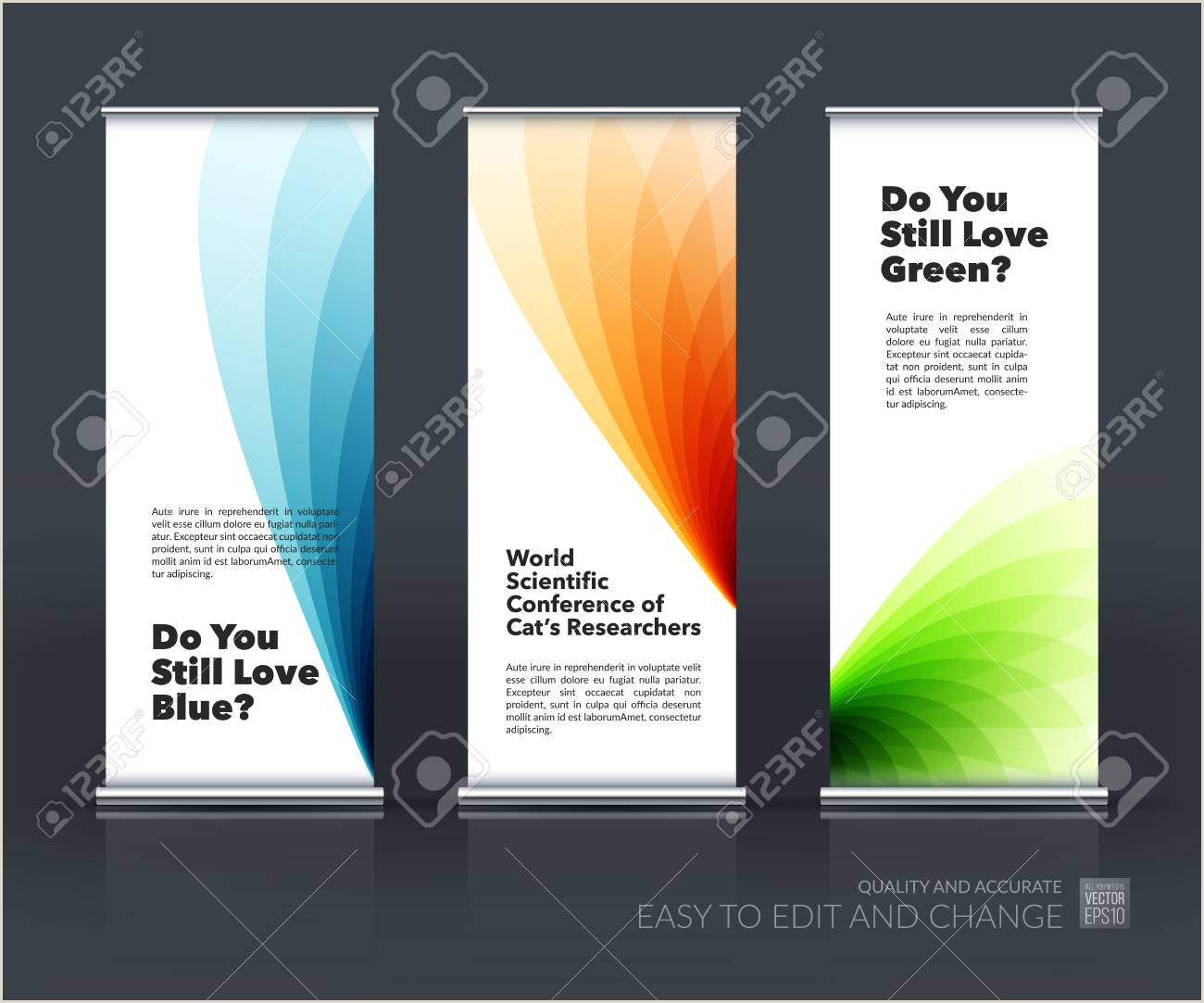 Self Standing Banner Vector Set Of Modern Roll Up Banner Stand Design With Soft Shapes