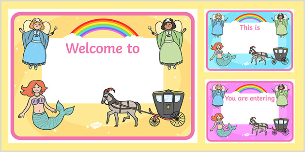 Self Standing Signs Free 👉 Fantasy Editable Class Wel E Signs