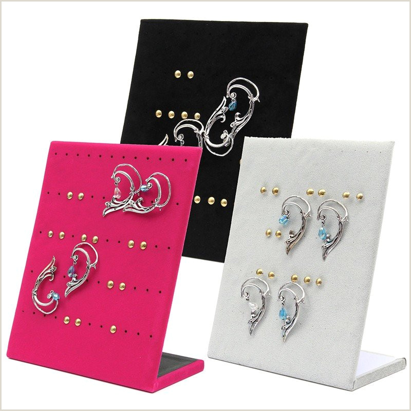 Sign Display Stand 30 Pairs Velvet Earrings Jewelry Display Stand Holder Show Case