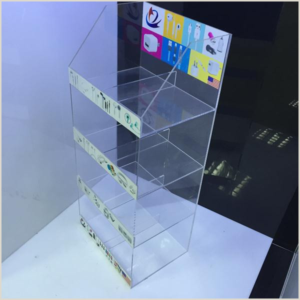 Sign Display Stand Clear Acrylic Mobile Accessories Display Stand With Sticker