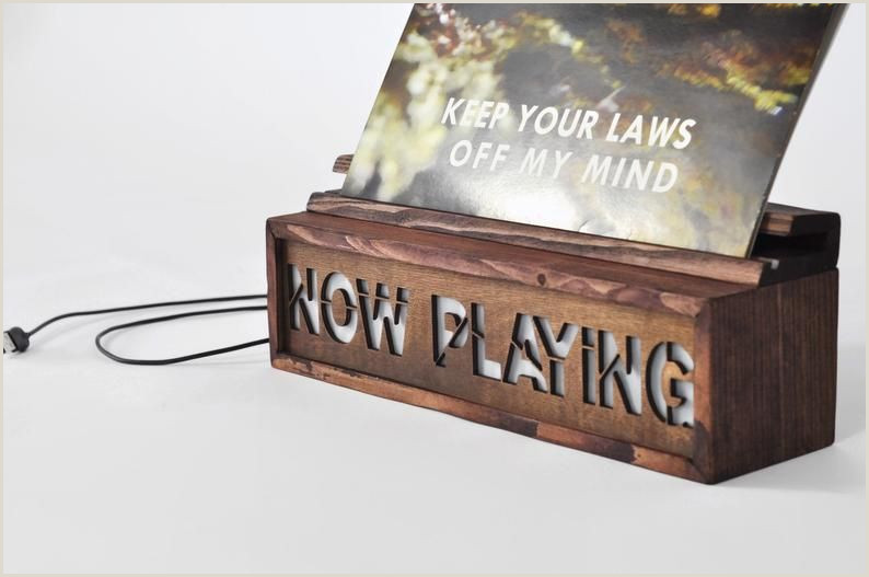"""Sign Display Stand Vinyl Record Storage """"now Playing"""" Stand Personalised"""