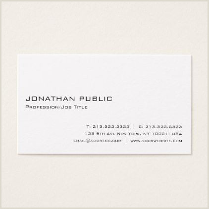 Simple Personal Business Cards Minimalist Modern Professional White Elegant Business Card