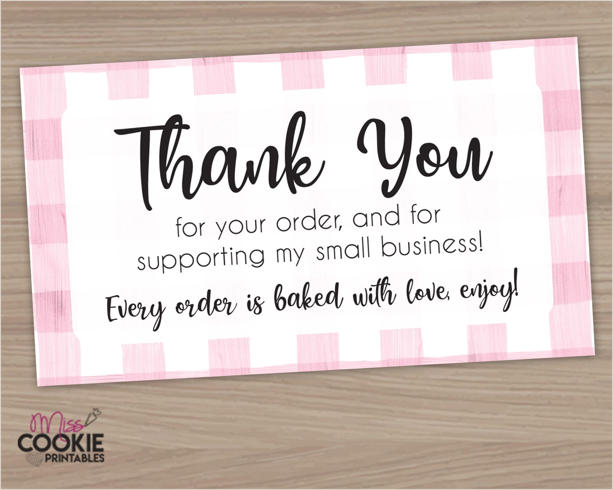 Small Order Business Cards Printable Thank You For Your Order And For Supporting My