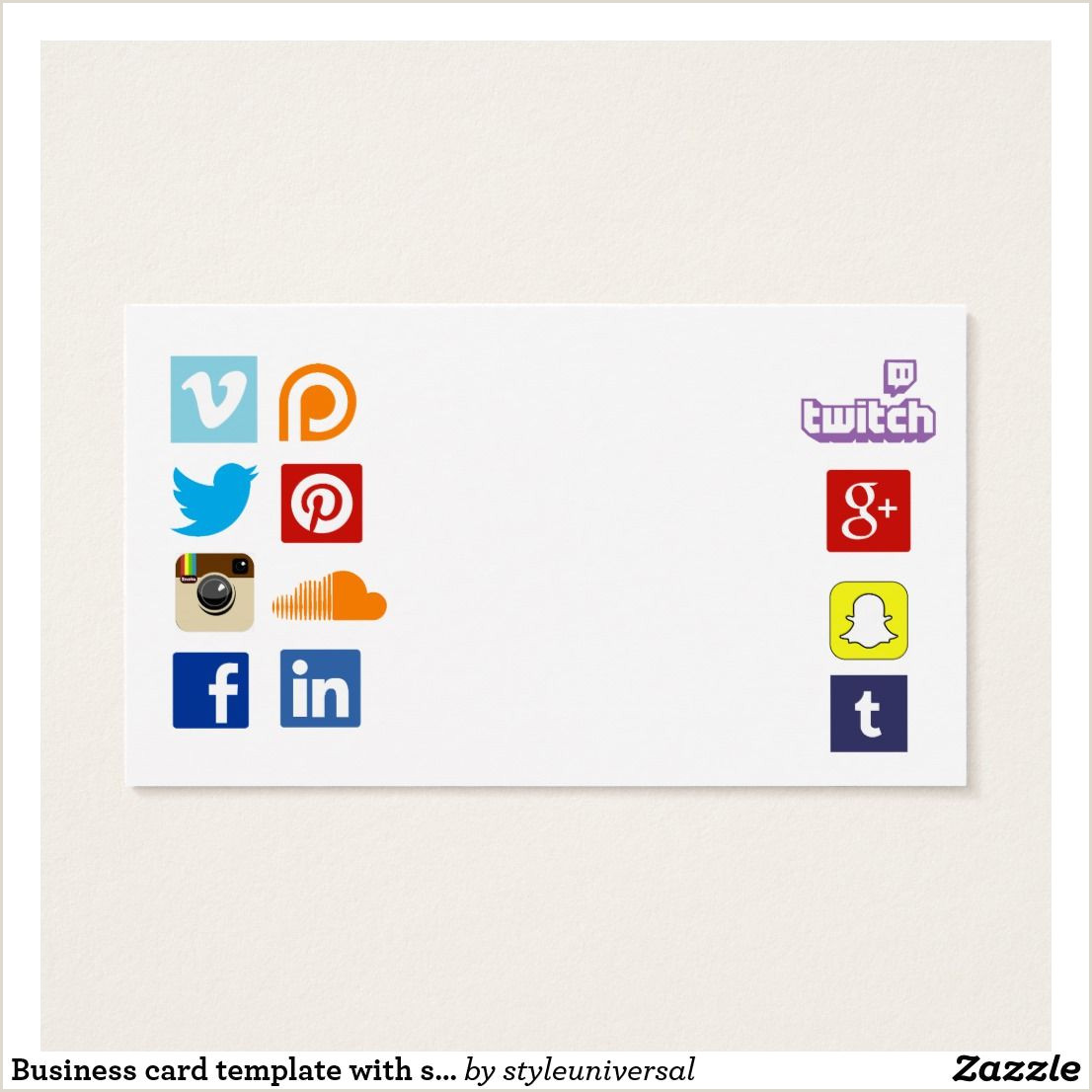Social Media Business Cards Template Business Card Template With Social Media Icons 3