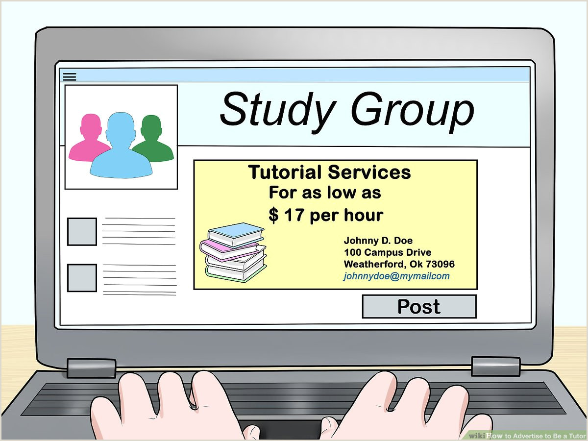 Social Media Marketing Business Cards How To Advertise To Be A Tutor 14 Steps With