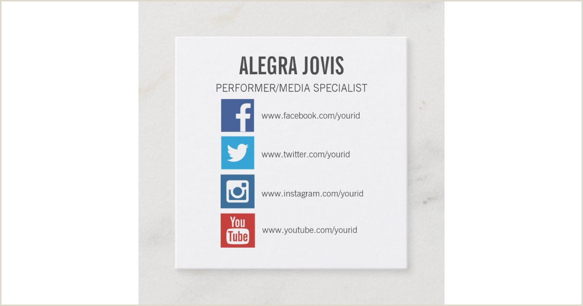 Social Media Symbols For Business Cards Social Media Icons Symbols Square Business Card