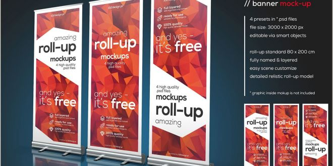 Stand Up Banner Dimensions Free Psd Roll Up Mockup Free Mockup