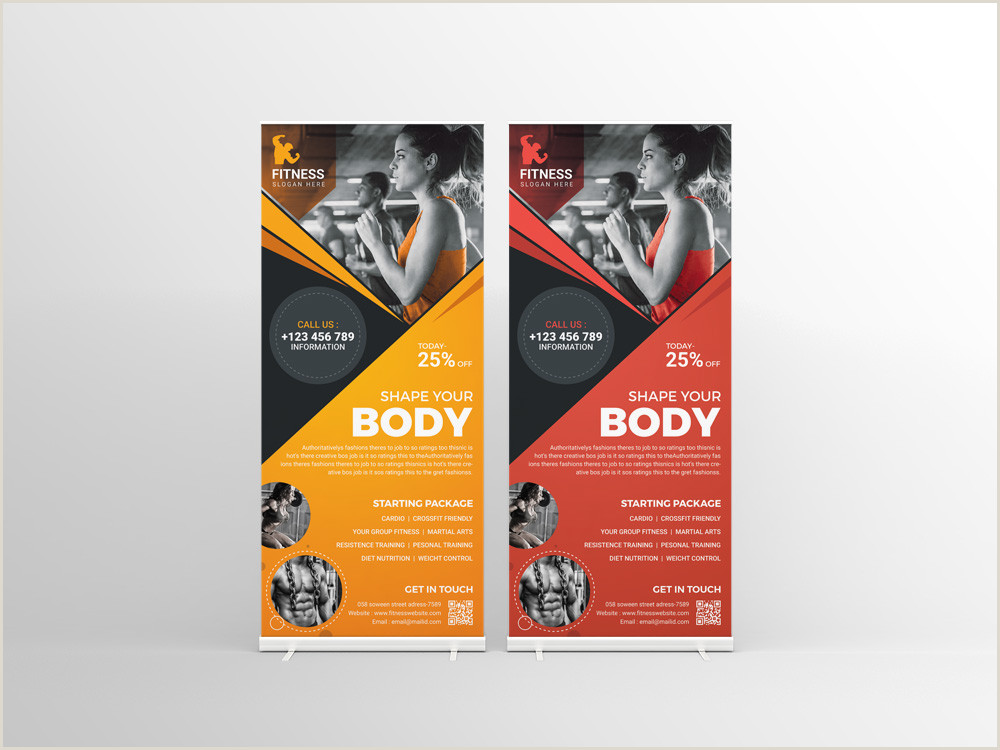 Stand Up Banners Fitness Center Professional Roll Up Banner Template