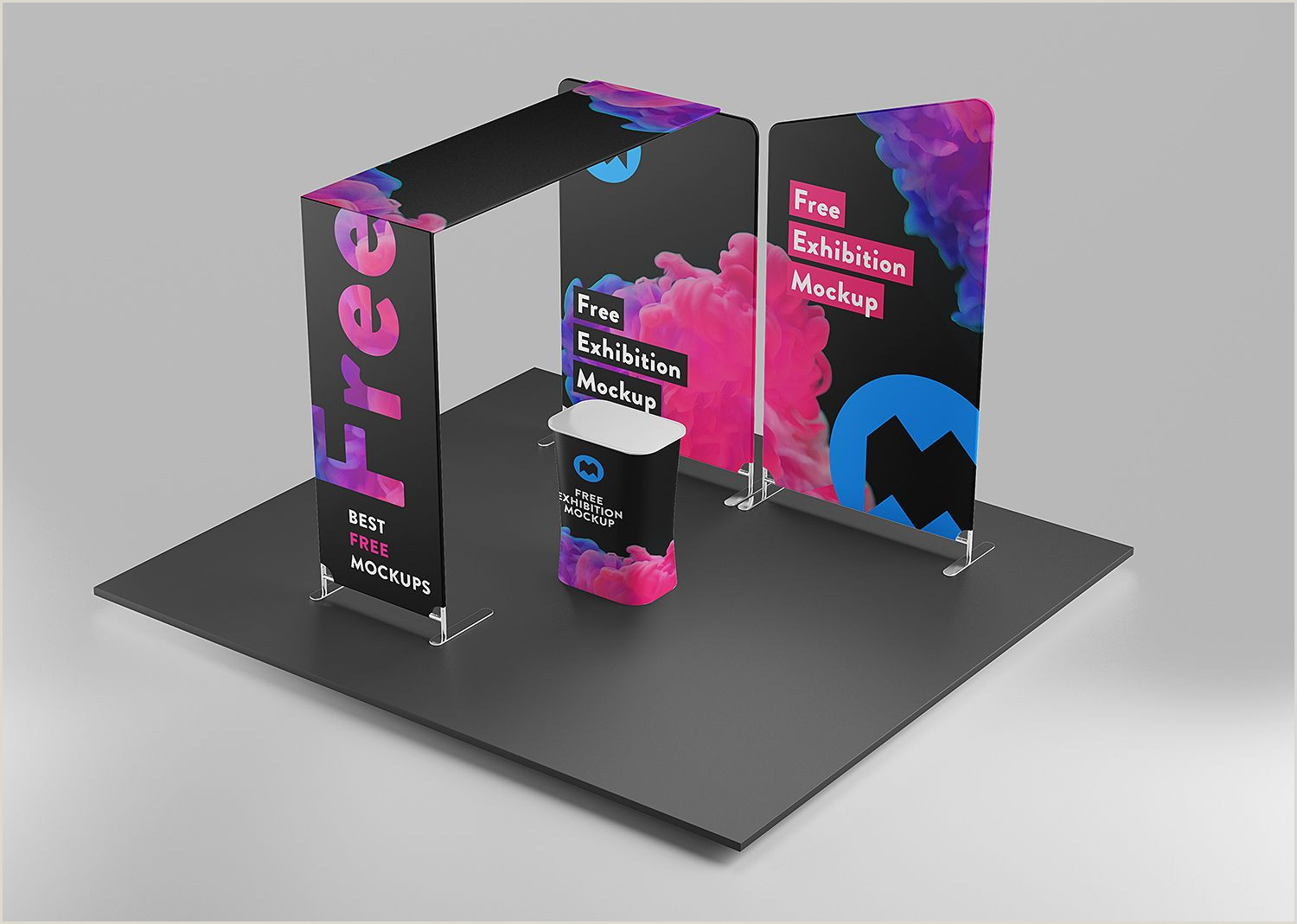 Stand Up Display Signs Free Exhibition Mockup Free Mockup