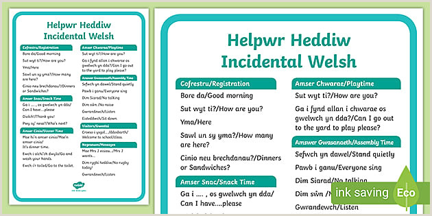 Stand Up Poster Display Helpwr Heddiw Incidental Welsh Words A4 Display Poster