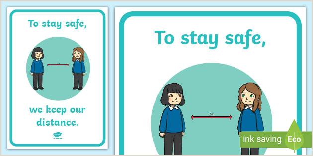 Stand Up Poster Display Keep Safe Keep Your Distance Display Poster Teacher Made