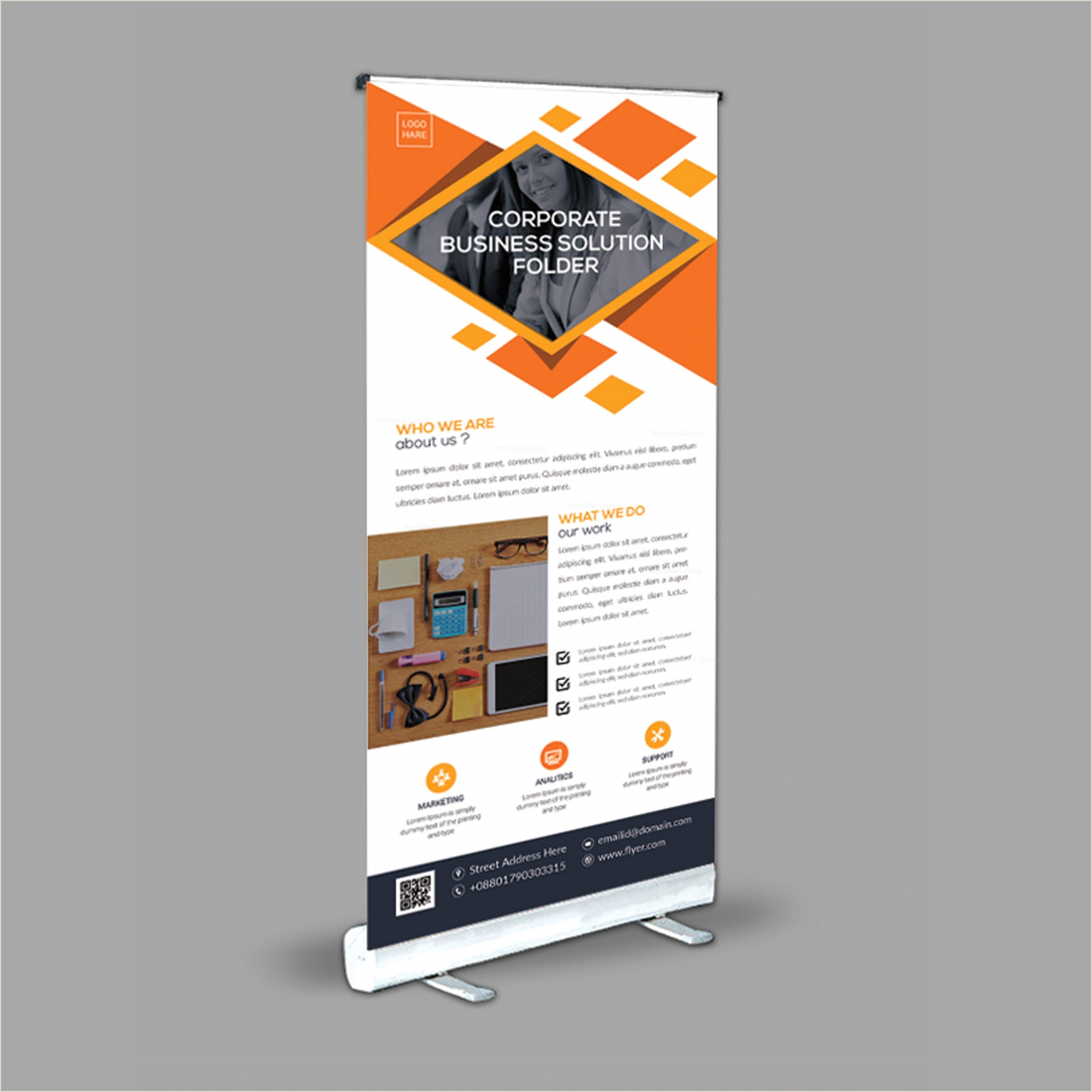 Standing Banner Dimensions Stylish Roll Up Banner Design Template