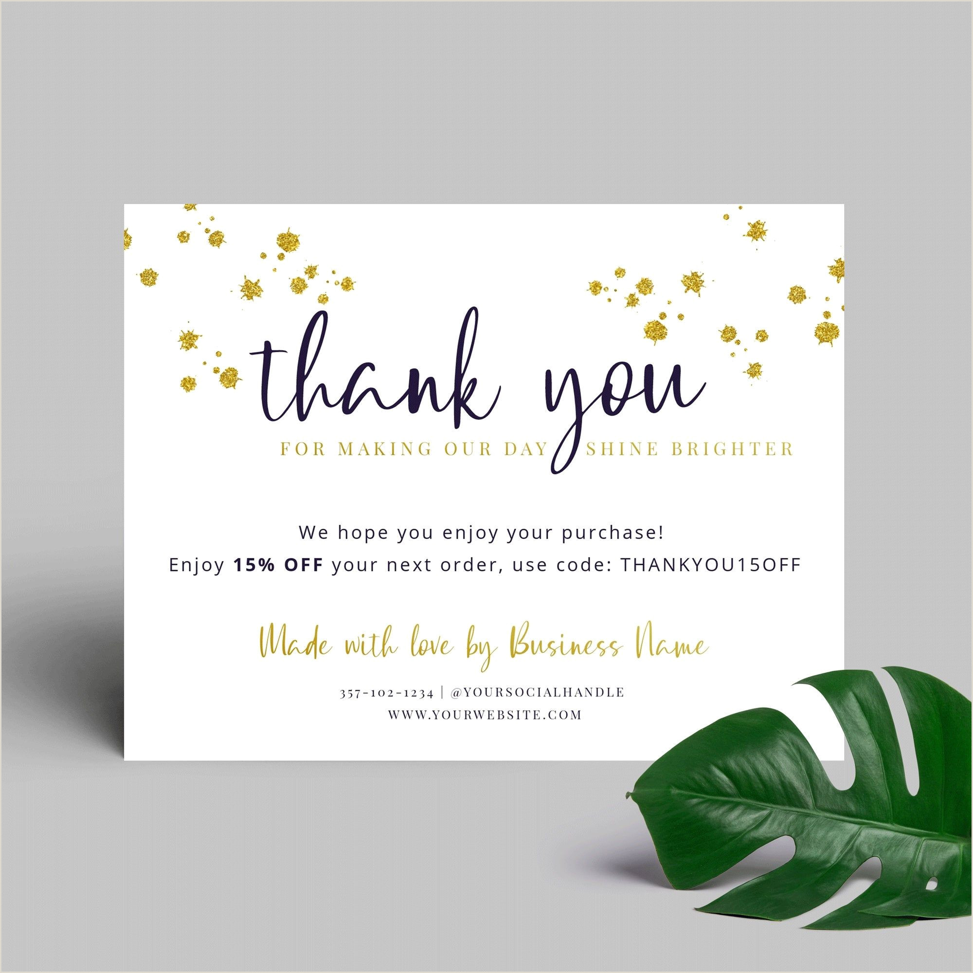 Thanks For Your Business Cards Gold Glitter Thank You Card Template Corjl Printable