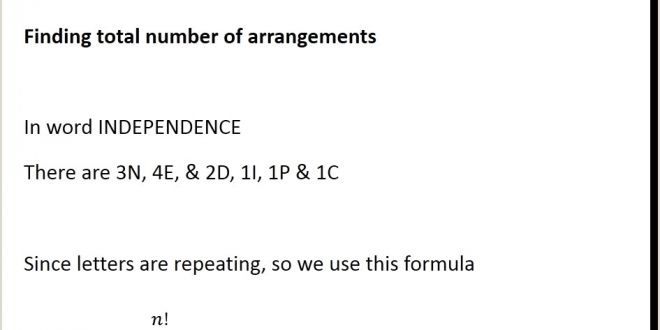 The Word Element Card- is An Example Of A: Example 16 Find Number Of Arrangements Of Independence