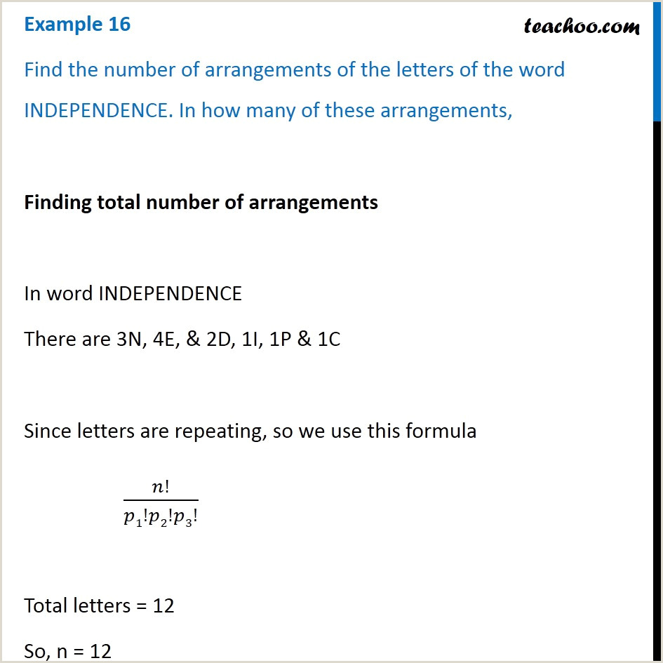 The Word Element Card  Is An Example Of A: Example 16 Find Number Of Arrangements Of Independence