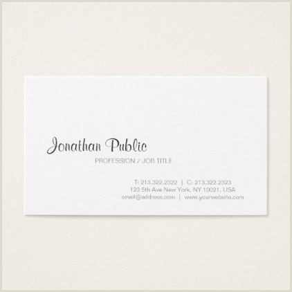 Titles On Business Cards White Modern Classy Design Professional Plain Business Card