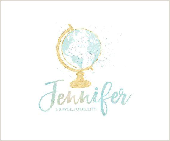 Travel Blog Business Cards Mint Watercolor Globe Logo Design Travel Blog Logo Rose Gold