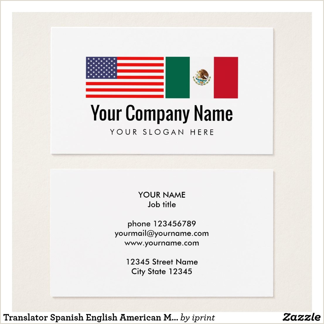Travel Blog Business Cards Translator Spanish English American Mexican Flag Business