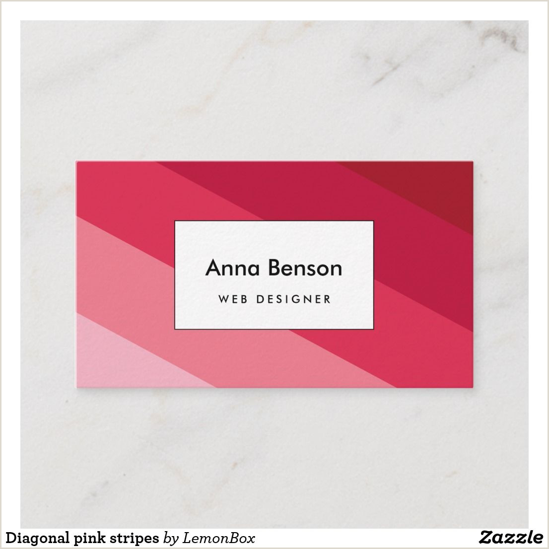 Types Of Business Cards Paper Diagonal Pink Stripes Business Card