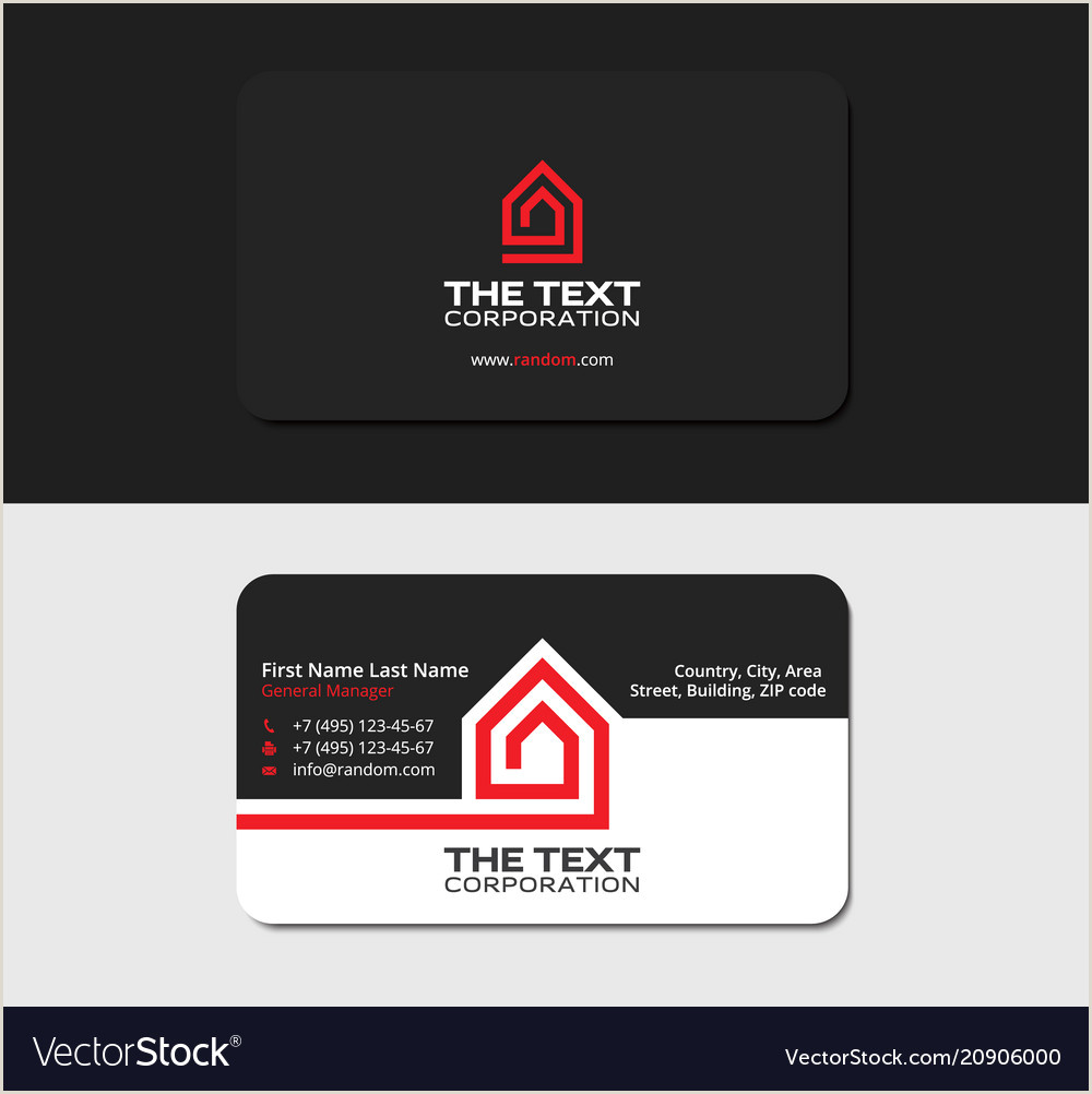 Unique Black White And Red Real Estate Business Cards Black Business Card Real Estate Red Color