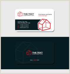 Unique Black White And Red Real Estate Business Cards Black Business Card Real Estate Red Color Vector Image
