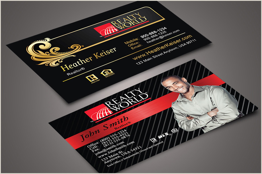 Unique Black White And Red Real Estate Business Cards Realty World Business Card Design Ideas