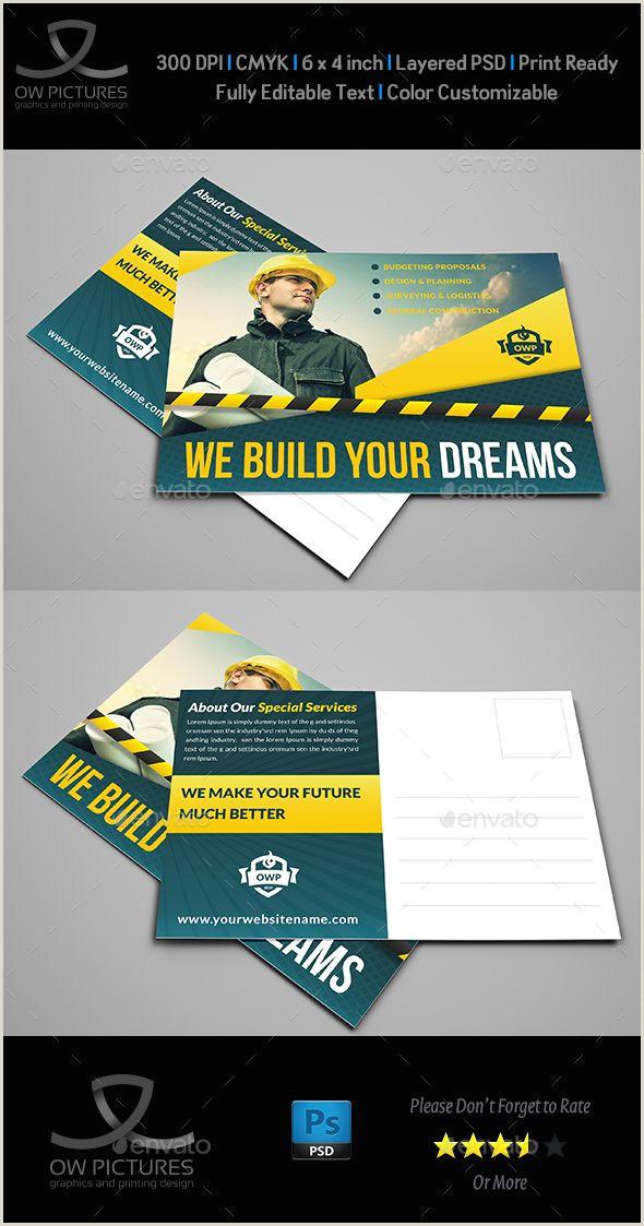 Unique Business Cards Construction Construction Postcard Template Vol 2