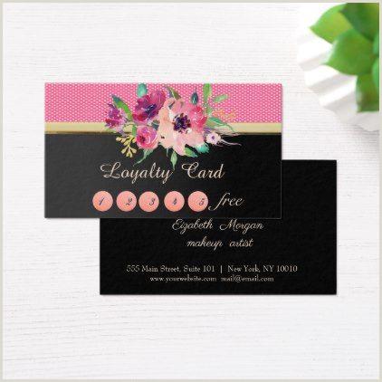 Unique Business Cards Florist Elegant Stylishblackflower Loyalty Card Makeup Artist