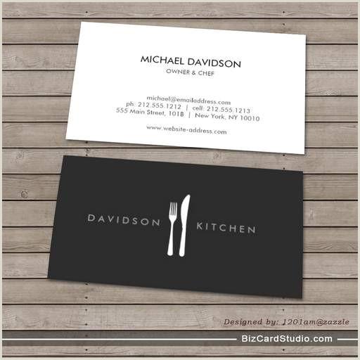 Unique Business Cards For Chefs Fork & Knife Logo 2 For Chef Foo Restaurant Business