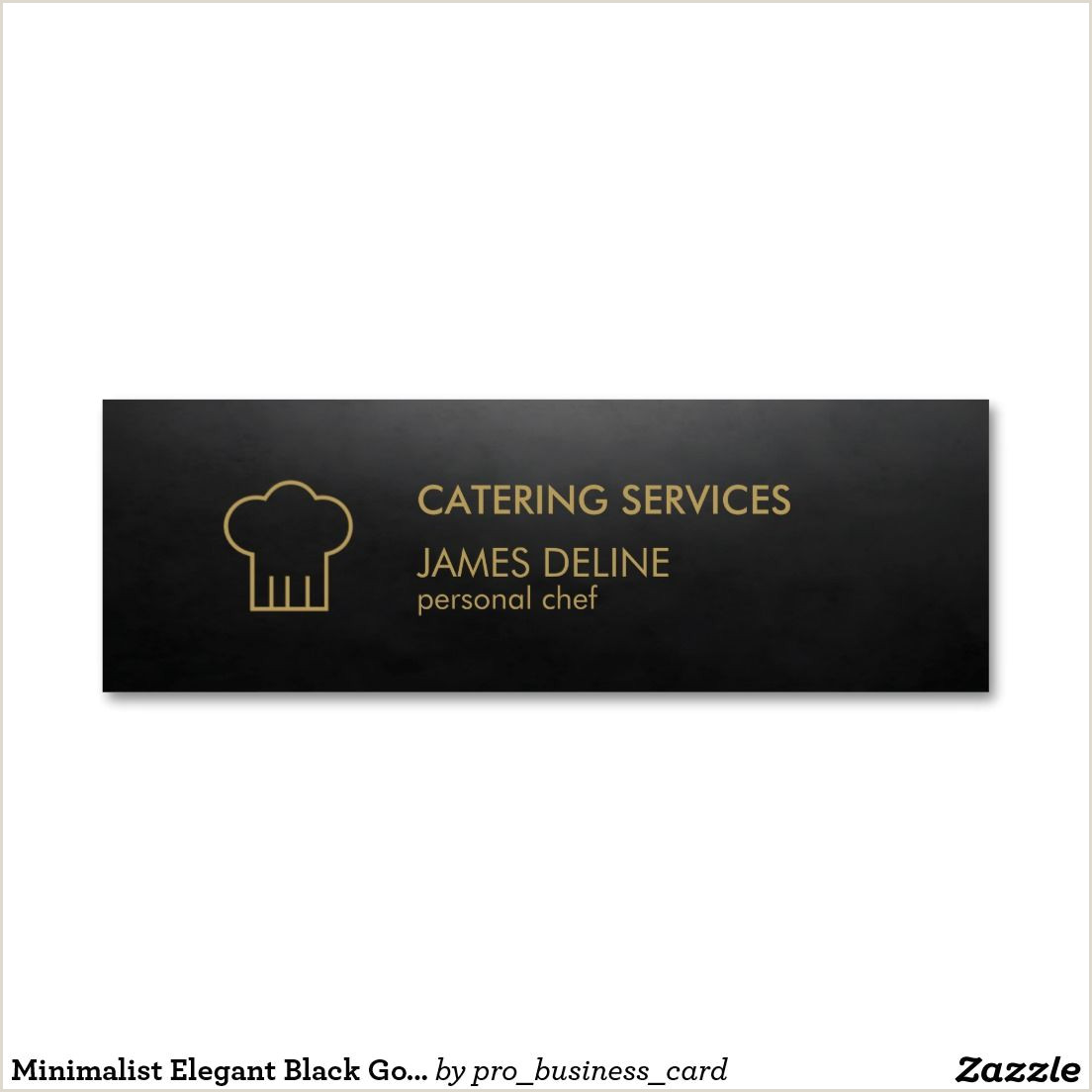 Unique Business Cards For Chefs Minimalist Elegant Black Gold Chef Hat Catering Double Sided