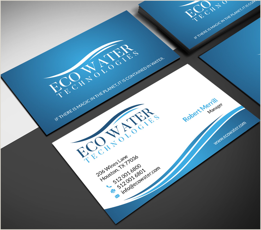 Unique Business Cards For Sewers Eco Water Technologies Corp Business Cards