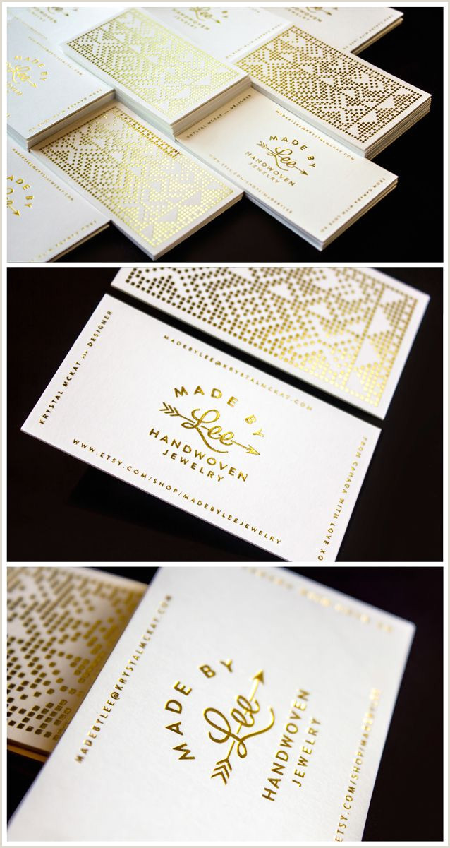Unique Business Cards Gold Foil Gold Foil Made By Lee Handwoven Jewelry Business Cards