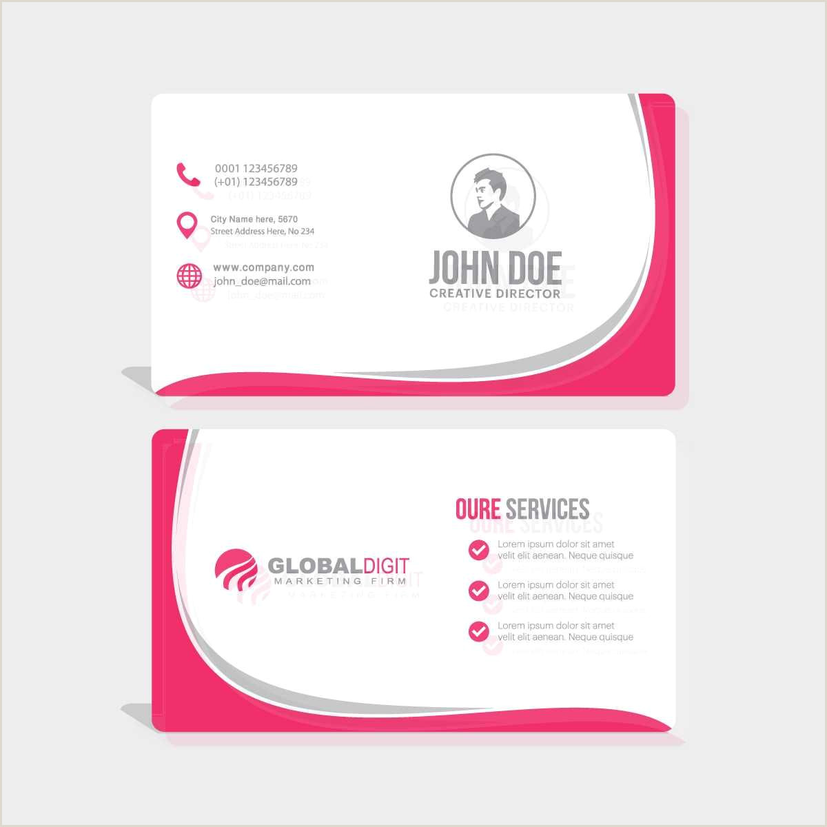 Unique Business Cards Shapes Business Card With Pink Wavy Shapes Free