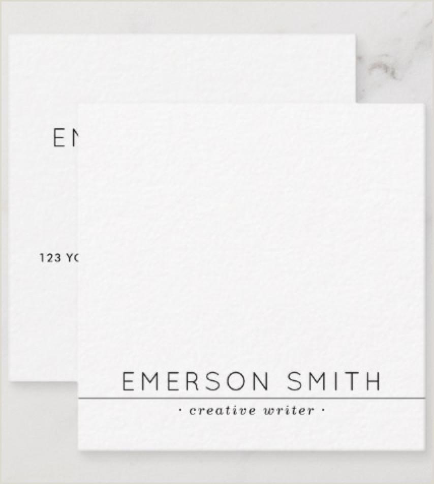 Unique Business Cards Writers Black Line Simple Minimalist Professional White Square