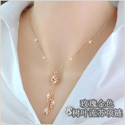 Unique Business Christmas Cards Silver Silver Plated Golden Rose Gold Gold Tassel Necklace Female Clavicle Chain Leaves Tassel Long Money Chain Women Vova