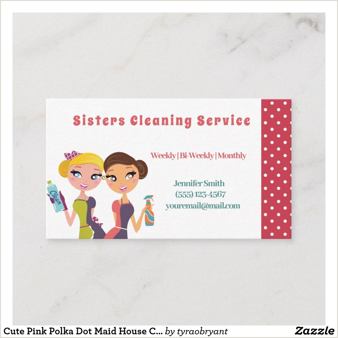 Unique Cleaning Business Cards Cute Pink Polka Dot Maid House Cleaning Service Business