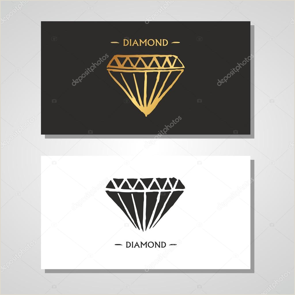 Unique Diamond Business Cards Business Card Set Diamond Logo Name Pany
