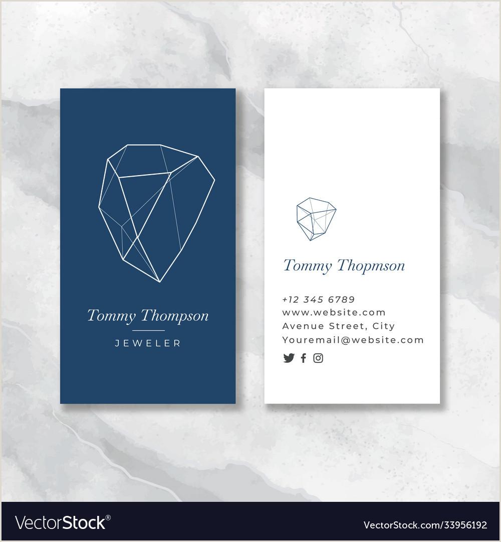 Unique Diamond Business Cards Flat Jeweler Blue Business Card Vector Image