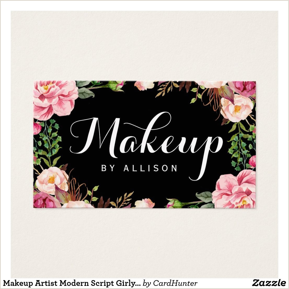 Unique Girly Business Cards Makeup Artist Modern Script Girly Floral Wrapping Business