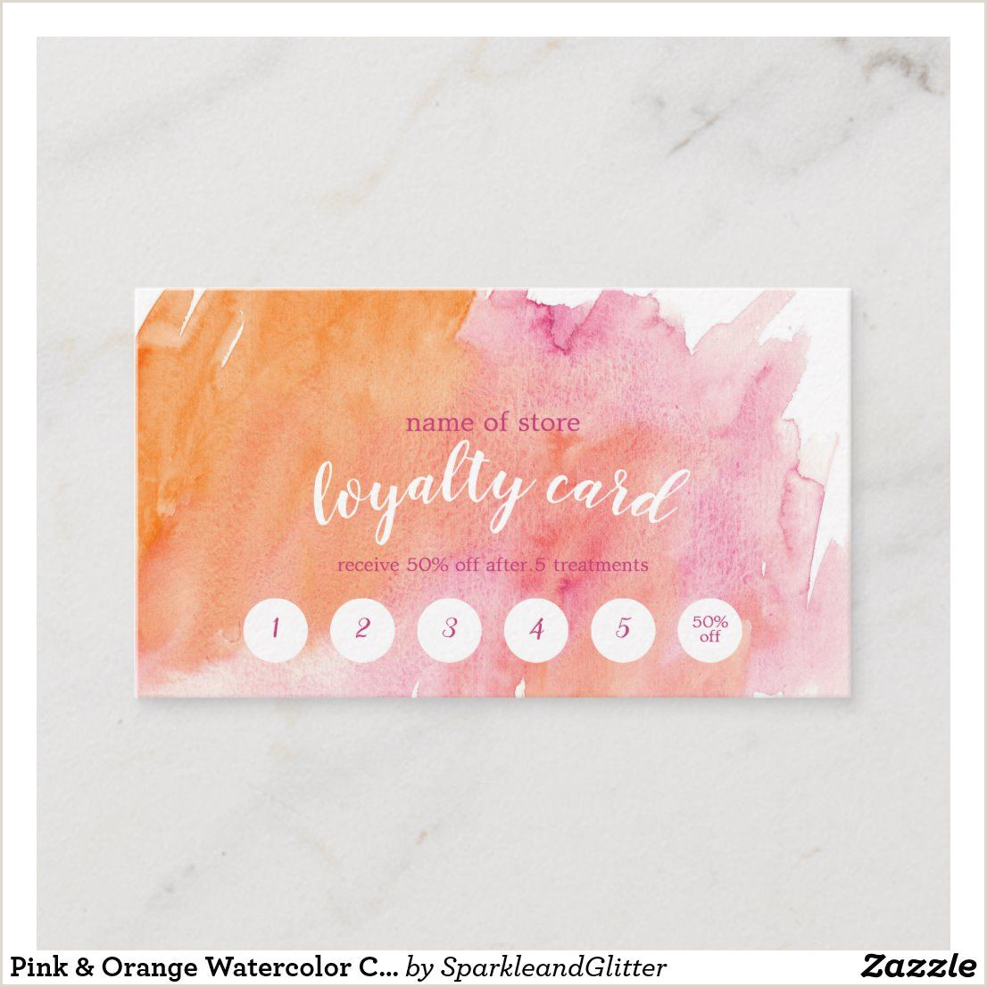 Unique Girly Business Cards Pink & Orange Watercolor Customer Loyalty Card
