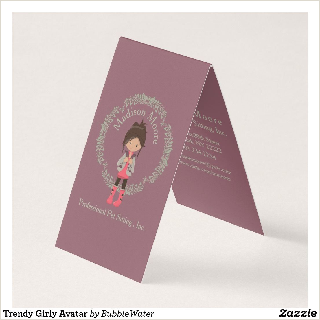 Unique Girly Business Cards Trendy Girly Avatar Business Card
