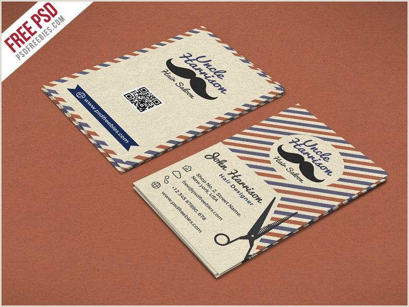 Unique Haircut Templates For Business Cards Retro Barber Shop Business Card Psd Template