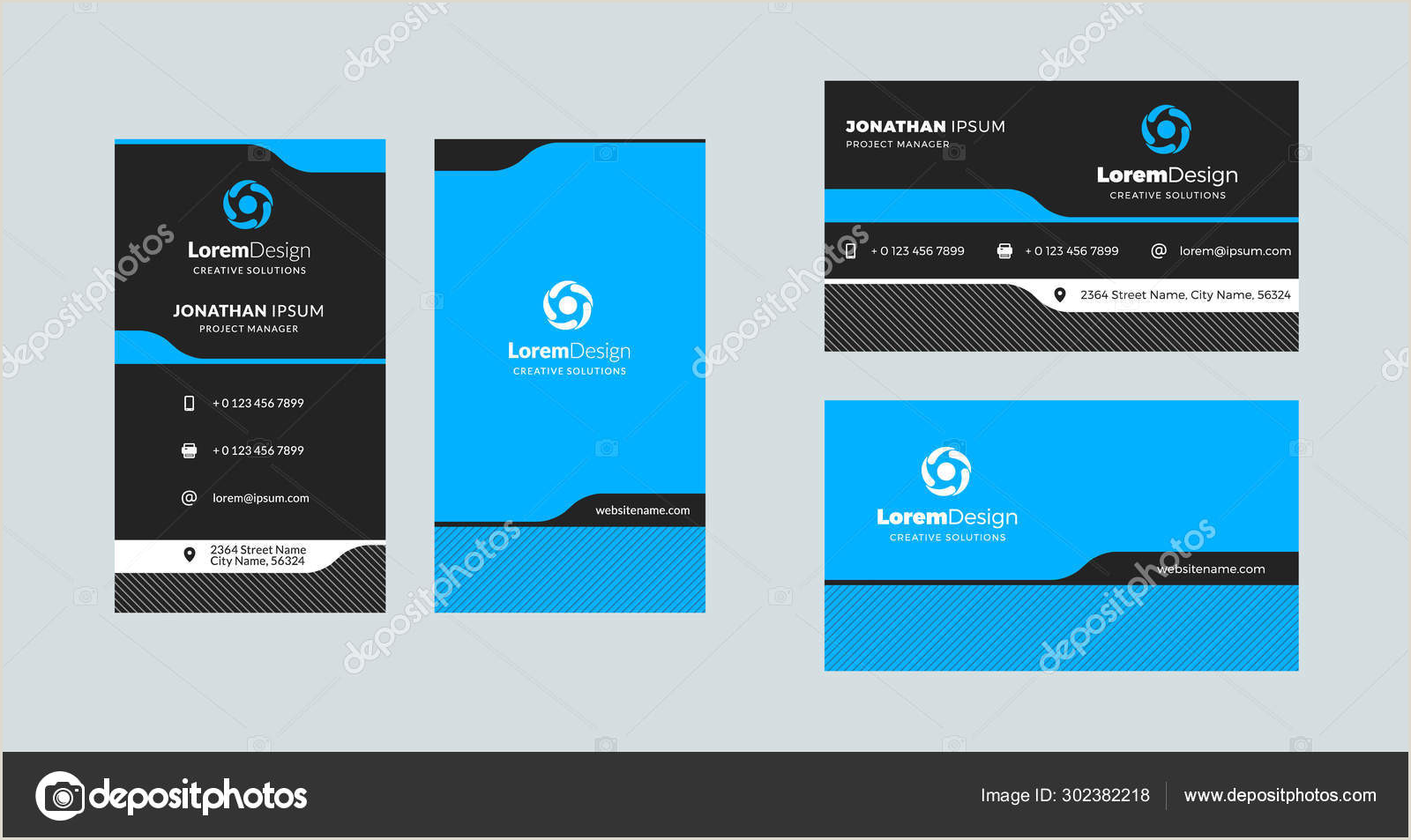 Unique Horizontal Business Cards Double Sided Creative Business Card Template Portrait And Landscape Orientation Horizontal And Vertical Layout Vector Illustration